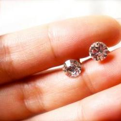Bedazzled -- Clear, Diamante Stud, Swarovski Stud Earrings - Gold Earposts, Everyday Casual, Classic Chic, Weekend Fun